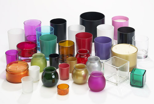 Coloured Glass Candleholders